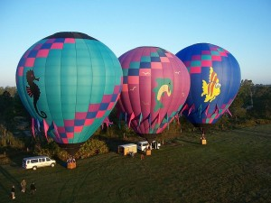hot air balloons ascending